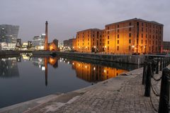 Albert docks. Dusk In Liverpool at the Albert docks with great reflections in the water stock photo