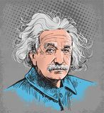 Albert Einstein colored portrait illustration, line art vector. Albert Einstein portrait, famous scientist's. illustration in comic style stock illustration