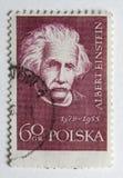 Albert Einstein auf einem Weinlesepfostenstempel von Polan Stockfotos