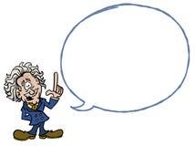 Albert Einstein com uma bolha vazia do diálogo ilustração do vetor