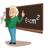 Albert Einstein Comics. Albert Einstein in a classroom scene. Comics style royalty free illustration