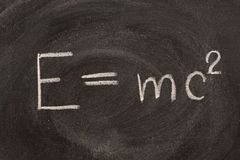 Albert Einstein E=mc2l formula on blackboard Stock Photos