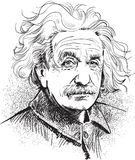 Albert Einstein portrait illustration, line art vector. Albert Einstein portrait. Famous scientist's illustration in comic style stock illustration