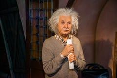 Albert Einstein in Grevin museum of the wax figures in Prague. Royalty Free Stock Photo