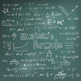 Albert Einstein lagteori och equa för matematisk formel för fysik stock illustrationer