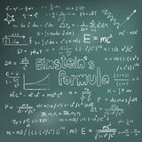 Albert Einstein law theory and physics mathematical formula equa Stock Photos
