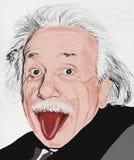 Albert Einstein målning royaltyfri illustrationer