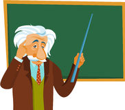Albert Einstein maakt een presentatie vector illustratie