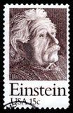 Albert Einstein portostämpel USA Arkivfoton