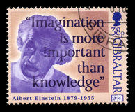 Albert Einstein Postage stamp. GIBRALTAR - 1998: A Gibraltar Postage stamp portraying an image of Albert Einstein and a quote, circa 1998 Stock Image