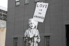 Albert einstein, straatkunst, de stad van New York Stock Foto