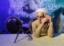 Albert Einstein vaxstaty, vaxdiagram, waxwork arkivfoton