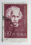 Albert Einstein on a vintage post stamp from Polan. Albert Einstein portrait on a vintage, canceled post stamp from Poland Stock Photos
