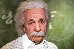 Albert Einstein Wax Sculpture na senhora Tussauds fotos de stock royalty free