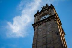 Albert Memorial Clock tower in Belfast. In Northern Ireland with blie sky in the background stock photo