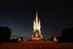 Albert Memorial la nuit Photos stock