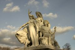 Albert Memortial, de Groep van Amerika standbeelden Londen, het UK Royalty-vrije Stock Afbeeldingen