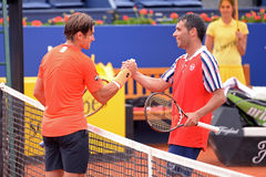 Albert Montanes (right) and Tommy Robredo (left) shake hands after the match at the ATP Royalty Free Stock Images