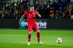 Albert Moreno joue à la correspondance de demi-finale de ligue d'Europa entre le Villarreal CF et le Liverpool FC Image stock