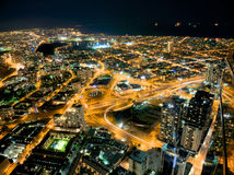Albert park and more. Looking down on melbourne at night including albert park lake Royalty Free Stock Photo