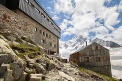 Albert Premier Hut in Franse Alpen Stock Foto's