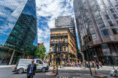 The Albert pub traditional old building between modern glass constructions. Royalty Free Stock Photography