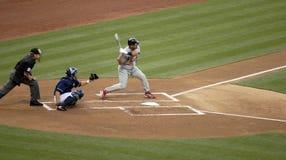 Albert Pujols Hitting. St. Louis Cardinals baseball slugger Albert Pujols prepares to hit in a game against the San Diego Padres Royalty Free Stock Photo