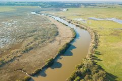 Albert River in Alberton, South Gippsland. Aerial view of Albert River and farmland in southern Victoria, South Gippsland, Australia. Shot with Mavic Pro drone stock image