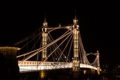 Albert's bridge at night, London, uk Stock Photos