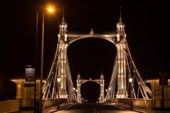 Albert's bridge at night, London, uk Stock Photography