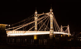 Albert's bridge at night, London, uk Stock Photo