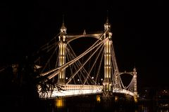 Albert's bridge at night, London Stock Photos