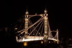 Albert's bridge at night, London. Uk Stock Photos