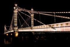 Albert's bridge  at night London United Kingdom uk Royalty Free Stock Photo