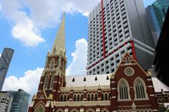 Albert Street Uniting Church in Brisbane. Brisbane is the capital of Queensland and the third largest city in Australia. Brisbane is built along the Brisbane royalty free stock images
