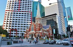 Albert Street Uniting Church, Brisbane. On a walk through the center of Brisbane stock photos