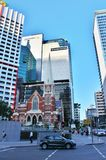Albert Street Uniting Church, Brisbane. On a walk through the center of Brisbane stock photography