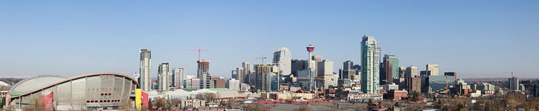 alberta calgary Kanada stadshorisont Fotografering för Bildbyråer