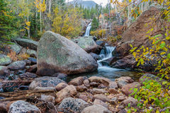 Alberta Falls Rocky Mountain National parkerar Arkivfoton