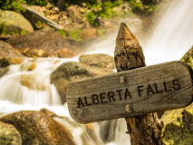 Alberta Falls Wooden Sign Stock Images