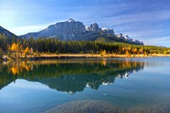Alberta Foothills Autumn Landscape. Distant Mountain Rundle Landscape and Quarry Lake Reflections from great walking and hiking trail above Canmore in Alberta Stock Images