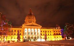 Alberta-Gesetzgebunggebäude am Weihnachten Stockfotografie