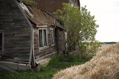 Alberta- oder Grasland-Bauernhof-Feld-alte Scheune stockfotos