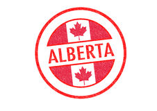 ALBERTA. Passport-style ALBERTA rubber stamp over a white background Royalty Free Stock Photos