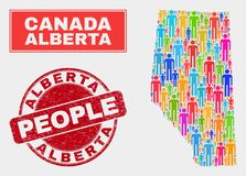 Alberta Province Map Population Demographics e selo do Grunge ilustração royalty free