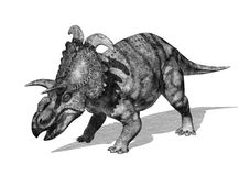 Albertaceratopsdinosaurus in Stijl 2 van de Potloodtekening Stock Afbeelding