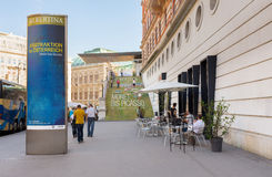 Albertina Museum in Vienna. VIENNA, AUSTRIA - JULY 31, 2015: exterior of  Albertina Museum during the exhibition of artists Picasso and Monet on  july 31, 2015 Stock Photography