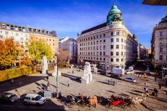 Albertinaplatz em Viena, Áustria fotografia de stock royalty free