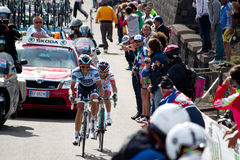 Alberto Contador. In the ninth stage of Giro d\'Italia during the ascent of Etna Royalty Free Stock Image