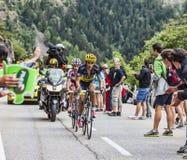 Alberto Contador Climbing Alpe D'Huez Fotografia de Stock